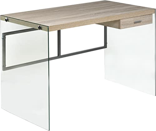 OneSpace Escher Skye Computer Writing Desk, Glass and Wood, Light Oak