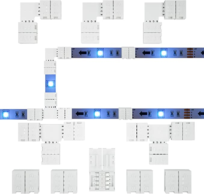 RGB LED Strip Connector Full Kit, 4 Pin 10mm Gapless Solderless Adapter Extension for SMD 5050 LED Light Strip, 5X Gapless Connectors, 3X L Connectors, 2X T Connectors - - Amazon.com