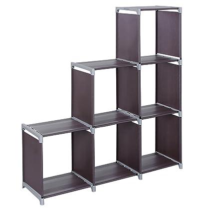 9f7f780eadc7 SONGMICS 3-tier Storage Cube Closet Organizer Shelf 6-cube Cabinet Bookcase  Dark Brown ULSN63Z