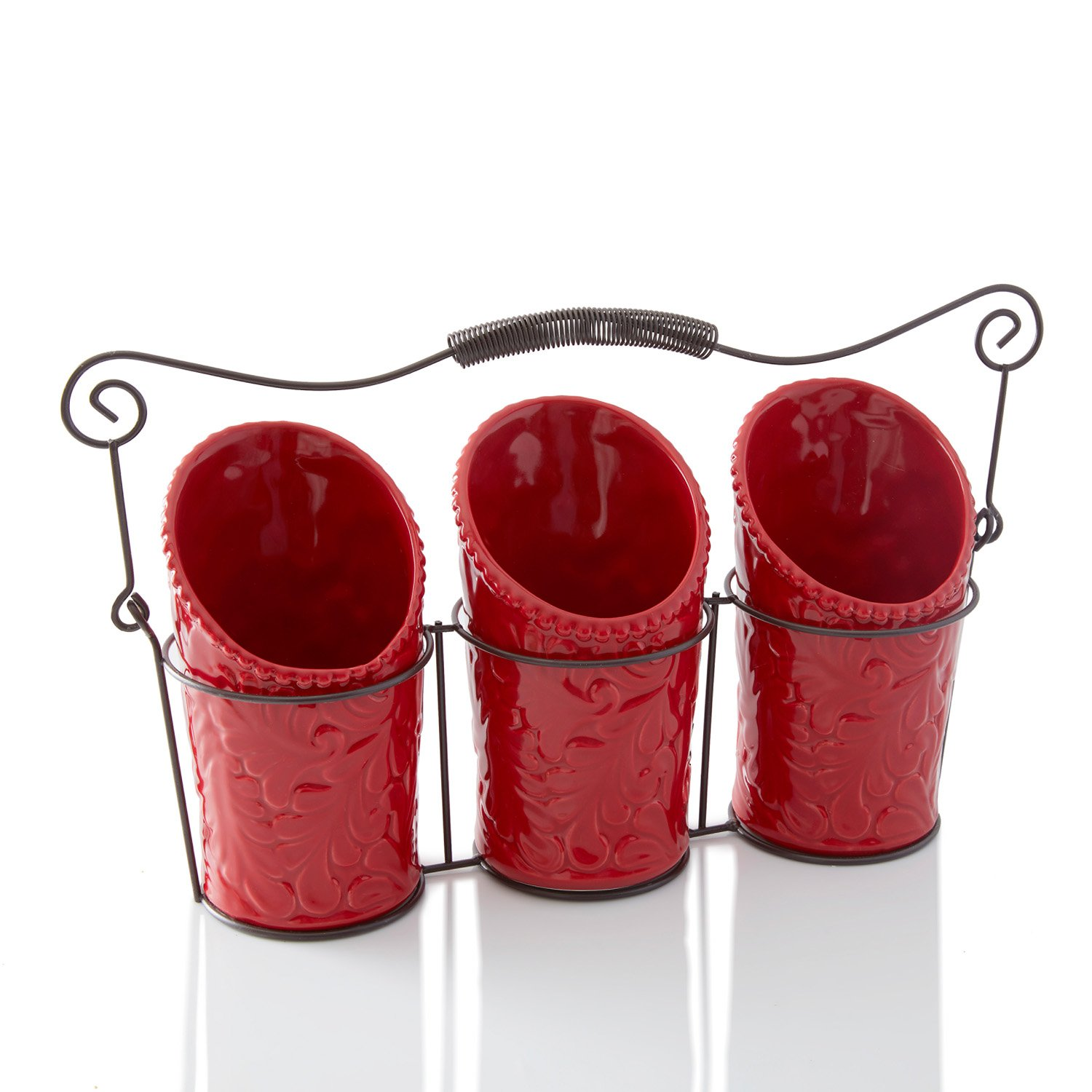 Kitchen Flatware Caddy - 3 Ceramic Utensil Holders (4'' Dia x 7'' H each) & 1 Wire Caddy - Red