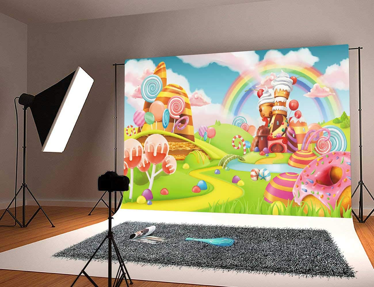 Daniu Sweet Cartoon Background Lollipop Photo Props Rainbow Baby Photography Backdrops Vinyl 7x5FT 210cm X 150cm Daniu-JP081