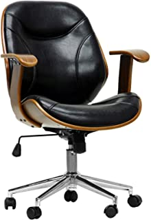 Amazoncom Baxton Studio Bruce Modern Office Chair WalnutBlack