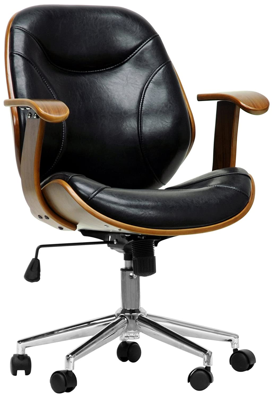 amazoncom baxton studio rathburn modern office chair walnutblackkitchen  dining. amazoncom baxton studio rathburn modern office chair walnut