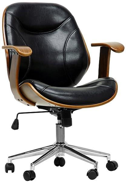 Baxton Studio Rathburn Modern Office Chair Walnut Black