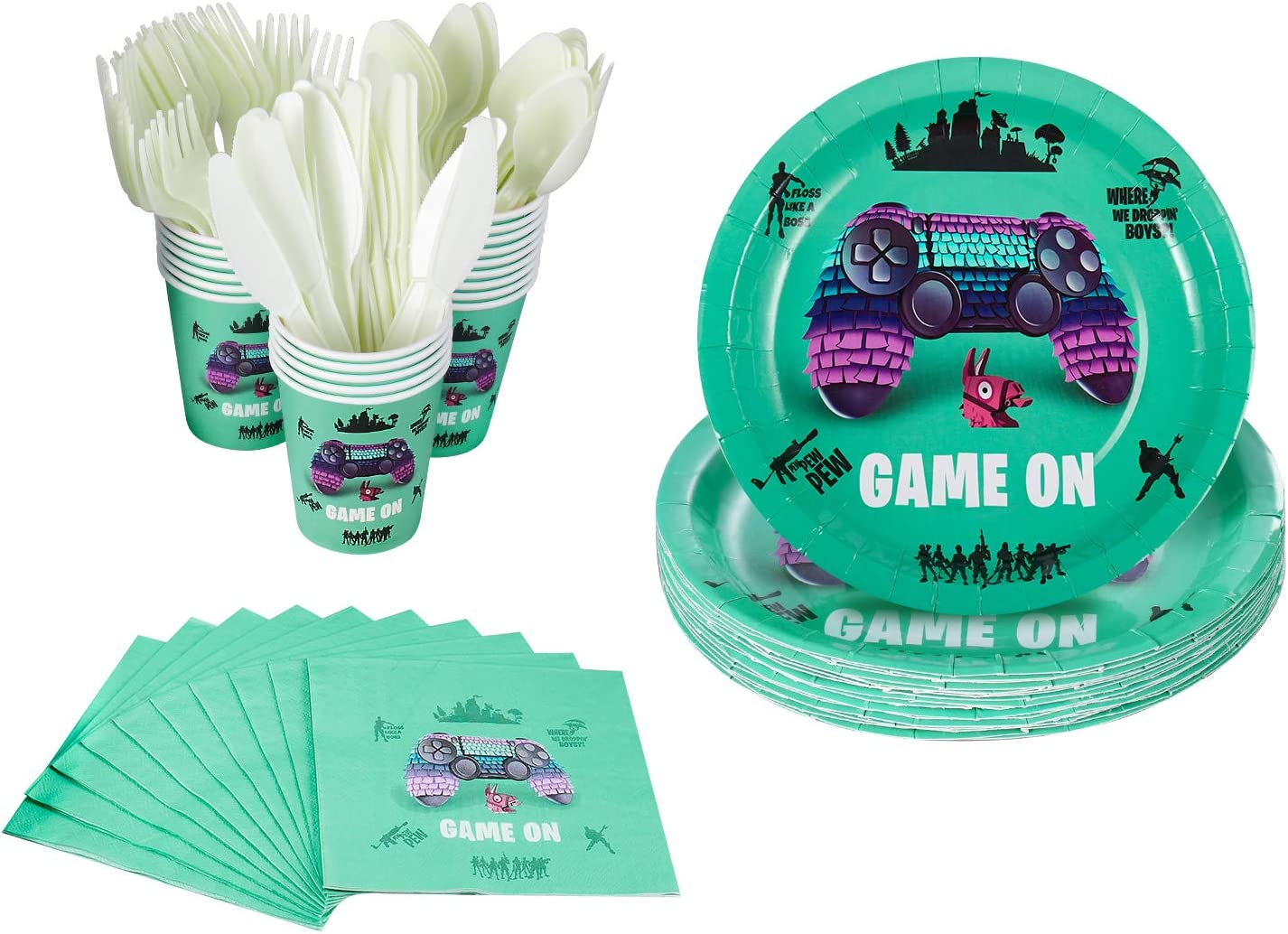 120 Pcs Video Game Party Supplies – Serves 20 – Includes Plates, Knives, Spoons, Forks, Cups and Napkins for Birthday Party Pack for Kids Video Game Themed Party