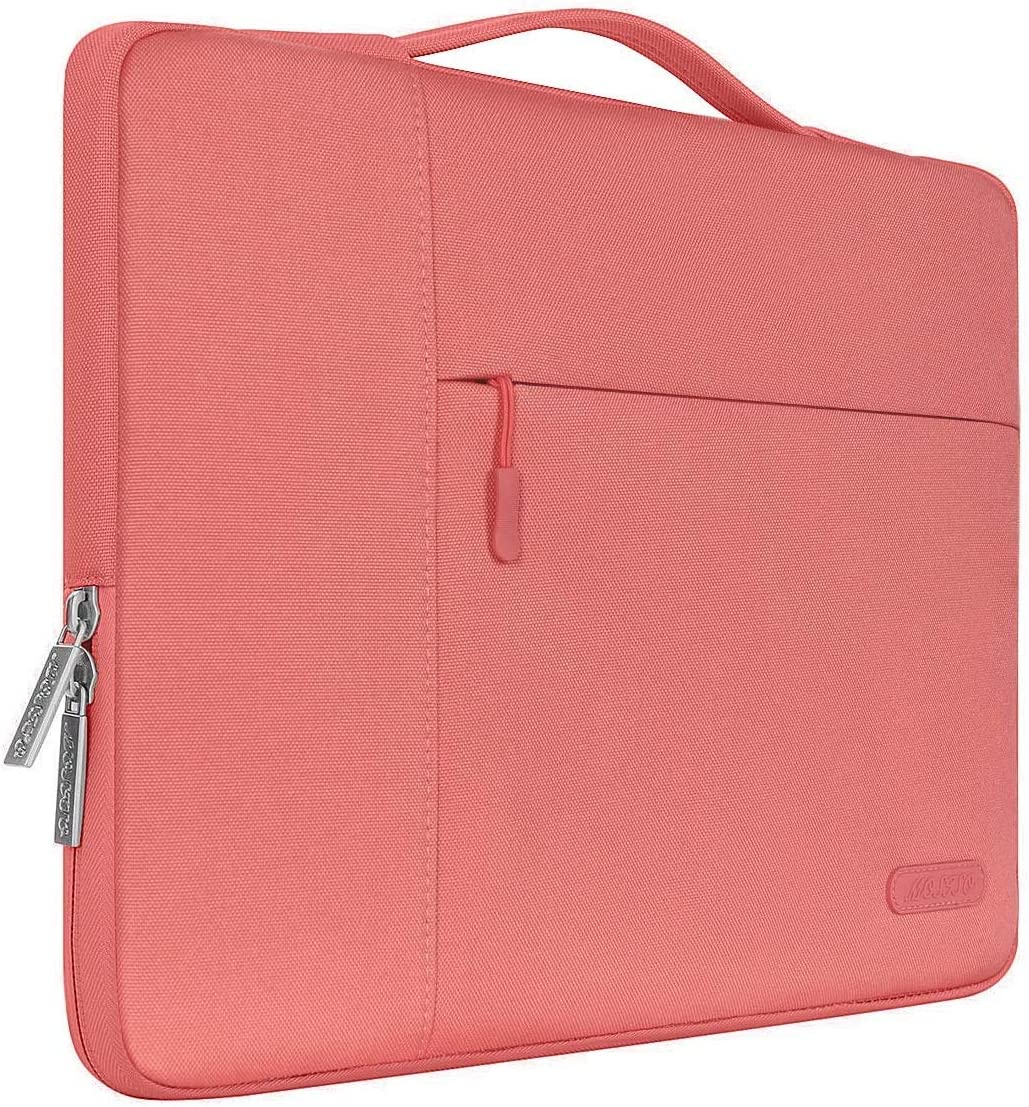 MOSISO Laptop Sleeve Compatible with MacBook Pro 16 inch, 15 15.4 15.6 inch Dell Lenovo HP Asus Acer Samsung Sony Chromebook,Polyester Multifunctional Briefcase Carrying Bag, Living Coral