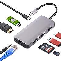 USB C Hub, Yeeliya 9-in-1 USB Type C Hub Adapter with Gigabit Ethernet Port,4K HDMI Port,2 USB 3.0 Ports 2.0, SD&Micro…