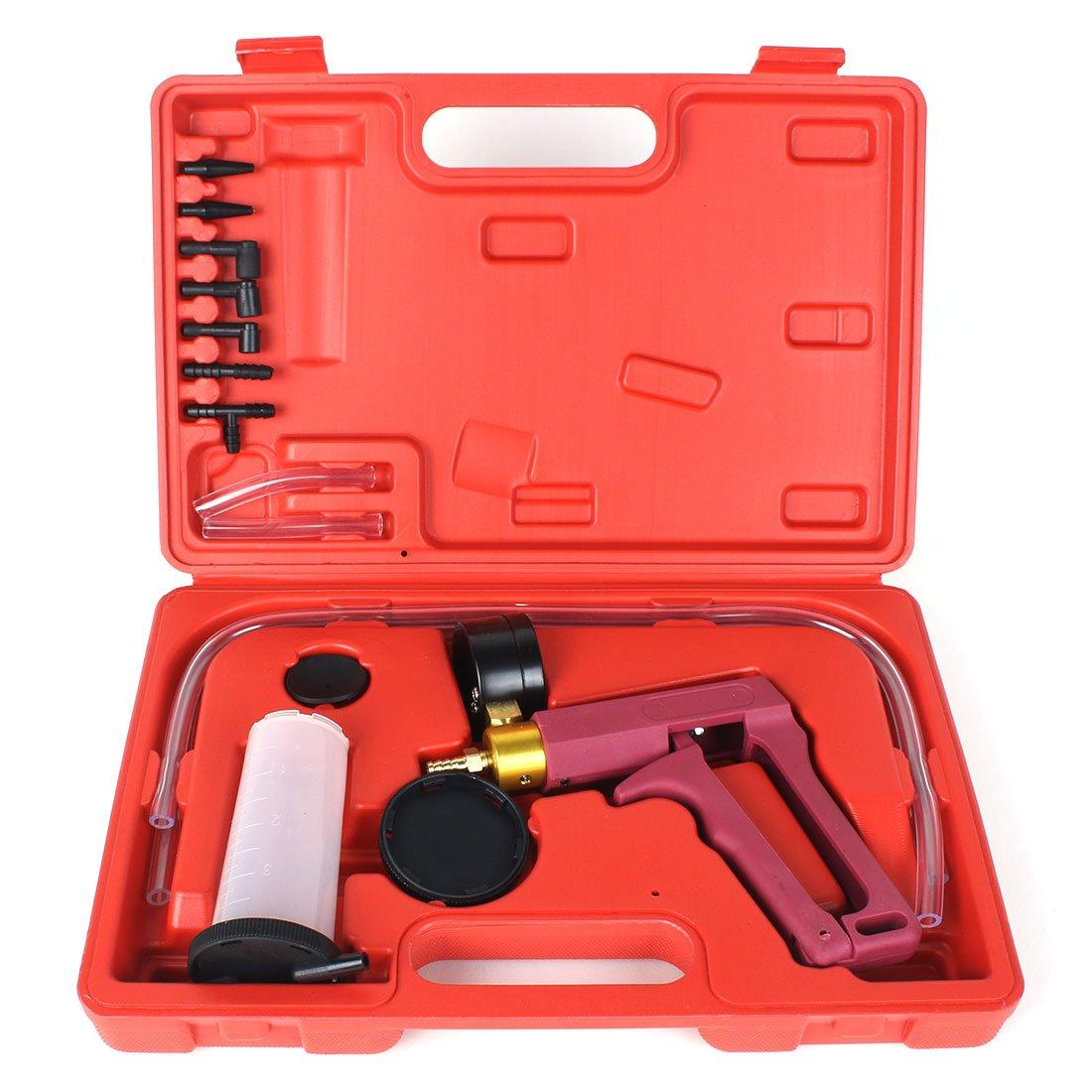 13PC Hand Held Vacuum Pressure Pump Tester Kit Brake Fluid Bleeder Car Motorbike Bleeding Set