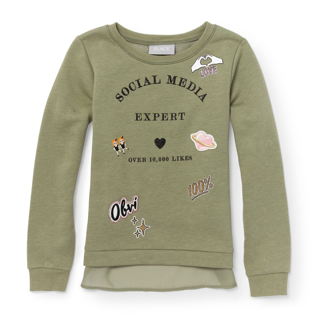 The Childrens Place Big Girls Chiffon Detail Long Sleeve Knit Top