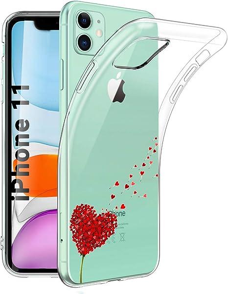 Young & Ming Coque pour iPhone 11 6.1'',3 Pack Transparent Housse TPU Silicone Coque de Protection pour iPhone 11 6.1'',Cœur