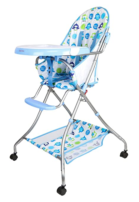 Tiffy And Toffee Baby Etiquette High Chair With Wheels (Indigo Blue)