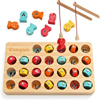 Coogam Wooden Magnetic Fishing Game, Fine Motor Skill Toy ABC Alphabet Color Sorting Puzzle, Montessori Letters…