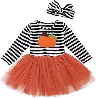 Elecenty Tops Set Maniche lunghe con stampa a righe per bambina Vestito da Halloween + Set fasce