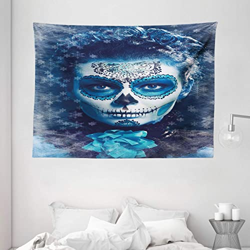 Ambesonne Sugar Skull Decor Tapestry, Santa Muerte Concept Winter Ice Cold Snowflakes Frozen Dead Folkloric, Wall Hanging for Bedroom Living Room Dorm, 80 W X 60 L Inches, Multicolor