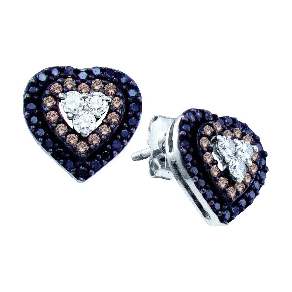 14K White Gold Brandy Diamond Chocolate Brown & Black Diamond Mission of Love Heart Earrings 1/2 Ctw. by Brandy Diamond (Image #1)