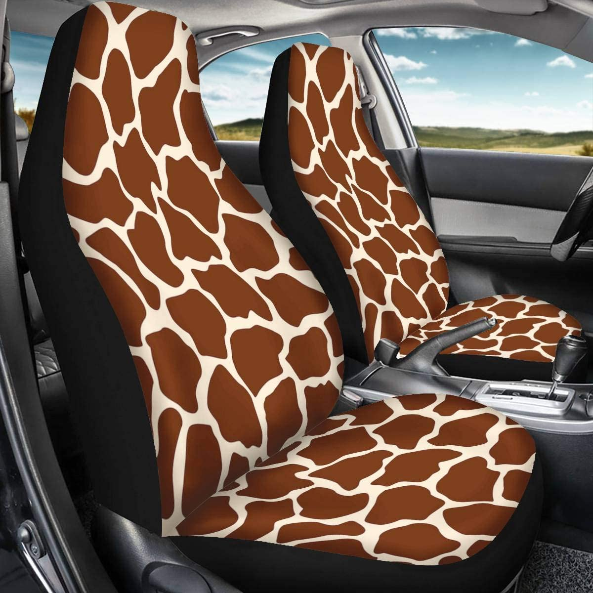 UNICEU Cool 3D Print Siberian Husky Pattern 2pc Front Car Seat Cover Universal Bucket Seats Protector Pack of 2
