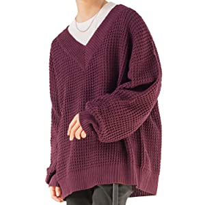 マイノリティ(minority) ニット メンズ セーター オーバーサイズ Vネック 長袖 ロング L ボルドー