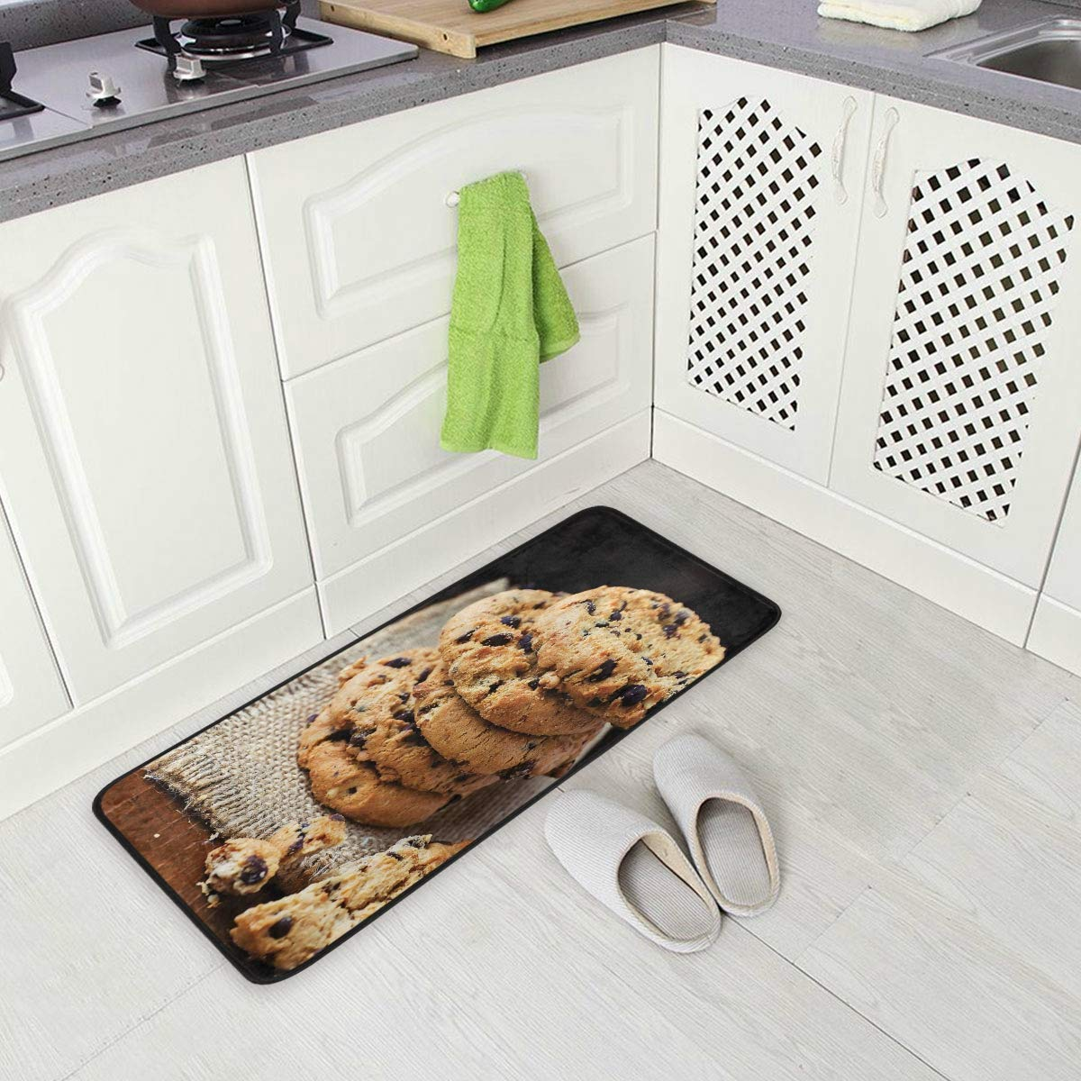 Jacksome Cookie Anti-Fatigue Memory Foam Kitchen Mats Bathroom Rugs Extra Soft Non-Slip Water Resistant Back Anti-Slip Runner Area Rug for Kitchen and Bathroom