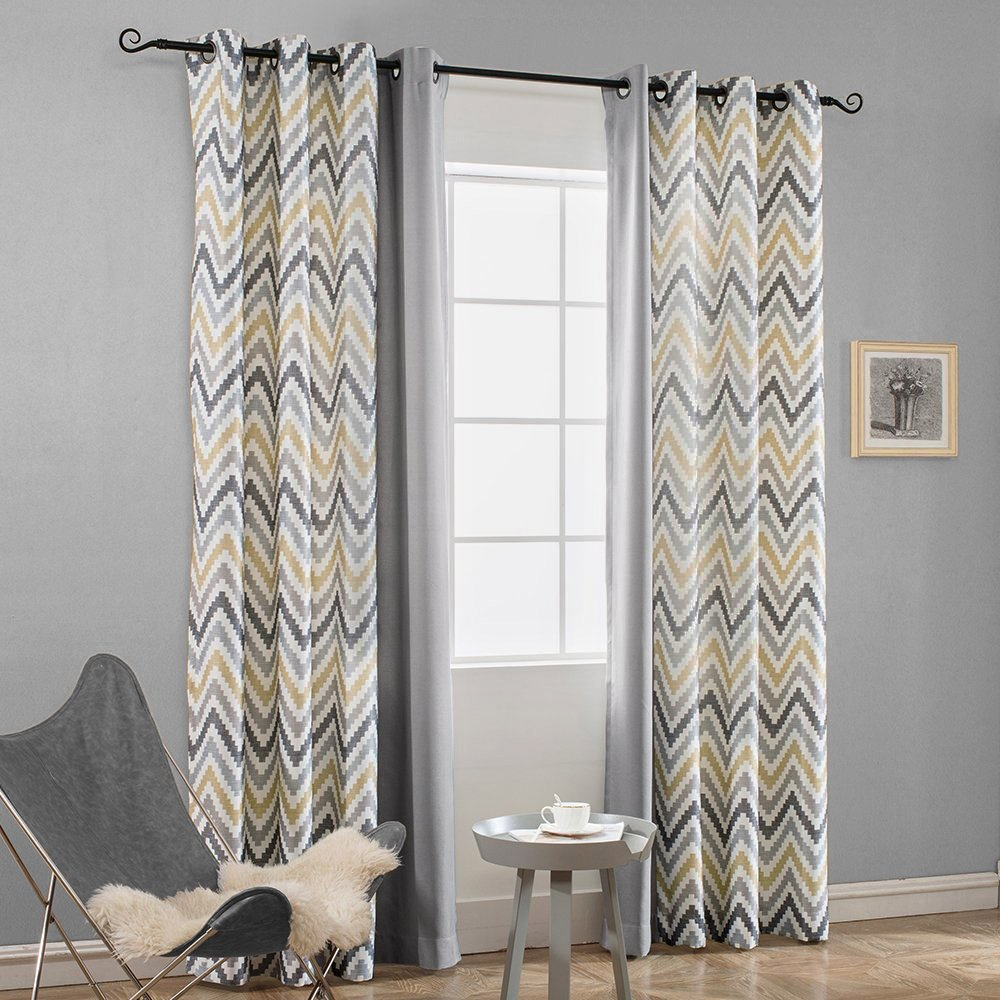 Melodieux Chevron Grommet Top Window Curtains for Living Room, 52 by 96 Inch, Yellow/Grey, Set of 2 Panels