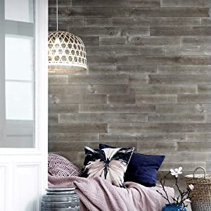 "Easy Peel & Stick DIY Real Distressed Wood Wall Plank or Panel - 12 Pieces - 19.50 SF - Large 5"" x 46.5"" (WP-004C Rustic Pebble)"