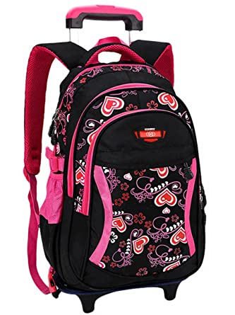 Coofit Rolling Backpack Cute School Kids With Wheels Black