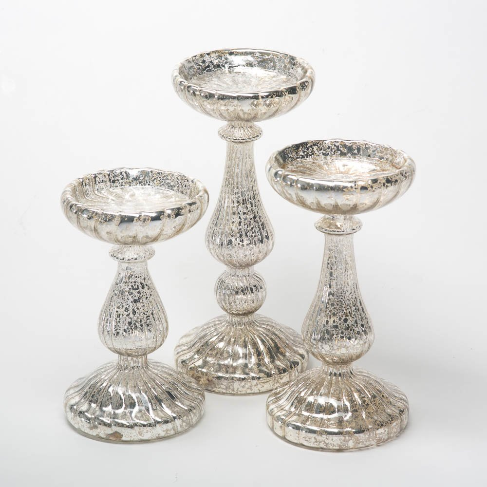 Mercury Glass Pillar Candle Holders Set of 3 | ChristmasTablescapeDecor.com
