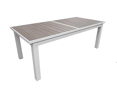 Tavolo Da Giardino Legno Bianco.Tavolo Da Giardino Estensibile Struttura In Alluminio E Top Effetto