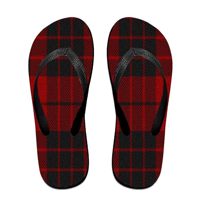 Unisex Non-slip Flip Flops Buffalo Plaid Tartan Cool Beach Slippers Sandal