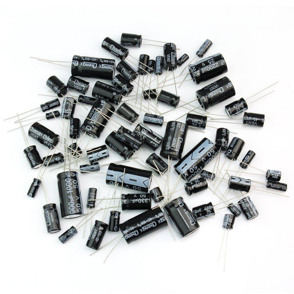 1uF-2200uF 25 Values 125pcs Electrolytic Capacitors Assortment Kit Assorted Set ReFaXi bi00104-ca