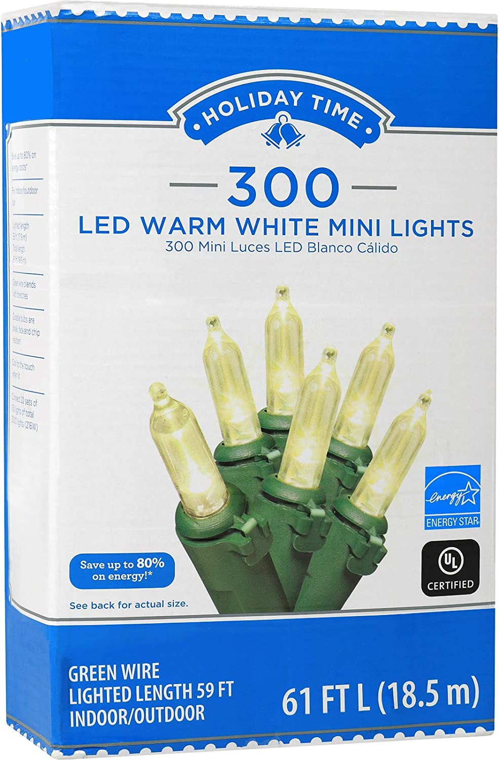 Holiday Time 300 LED String Lights Warm White Mini Lights 61 FT Long Plug in for Indoor Outdoor Christmas Tree Garden Wedding Party Decoration.