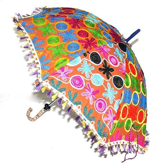 Étnico bordado trabajo indio de algodón Sombrilla Paraguas, Rajasthani: Amazon.es: Hogar