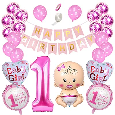 Shuxy First Birthday Decorations Set Girl Pink One Year Old Baby Girl Foil Balloon Rose Red Confetti Balloon Number 1 Balloon Happy Birthday Banners Garland Pink Princess Theme Kit Party Supplies: Health & Personal Care