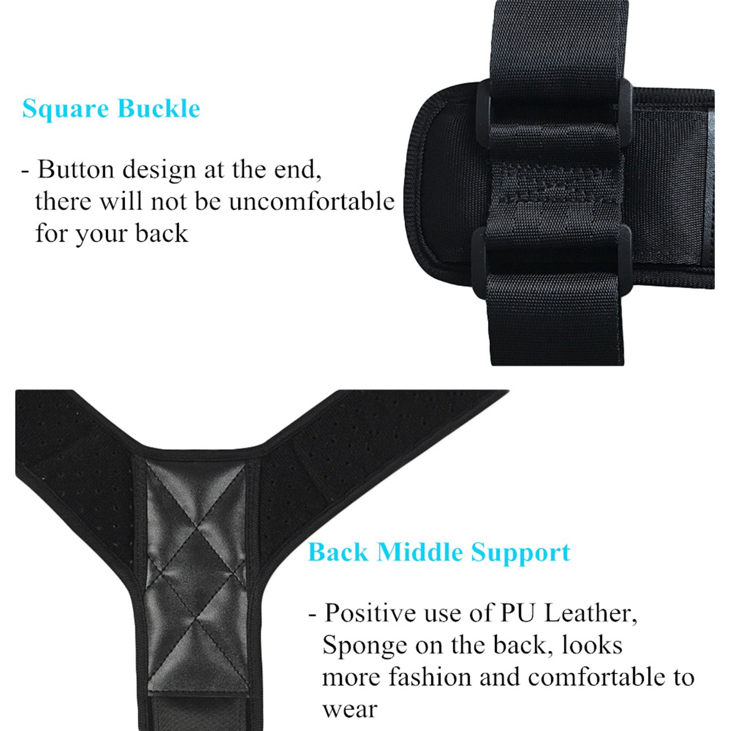 Conbays Back Posture Corrector for Women Men Adjustable Clavicle Brace Support Shoulder Connector Upper Back Pain Relief Posture Support Strap for Home Office by Conbays (Image #5)