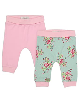 b1cc36b0d9054 The Essential One-Baby Girls Vintage Floral 2 Pack Leggings Pink/Mint 9-