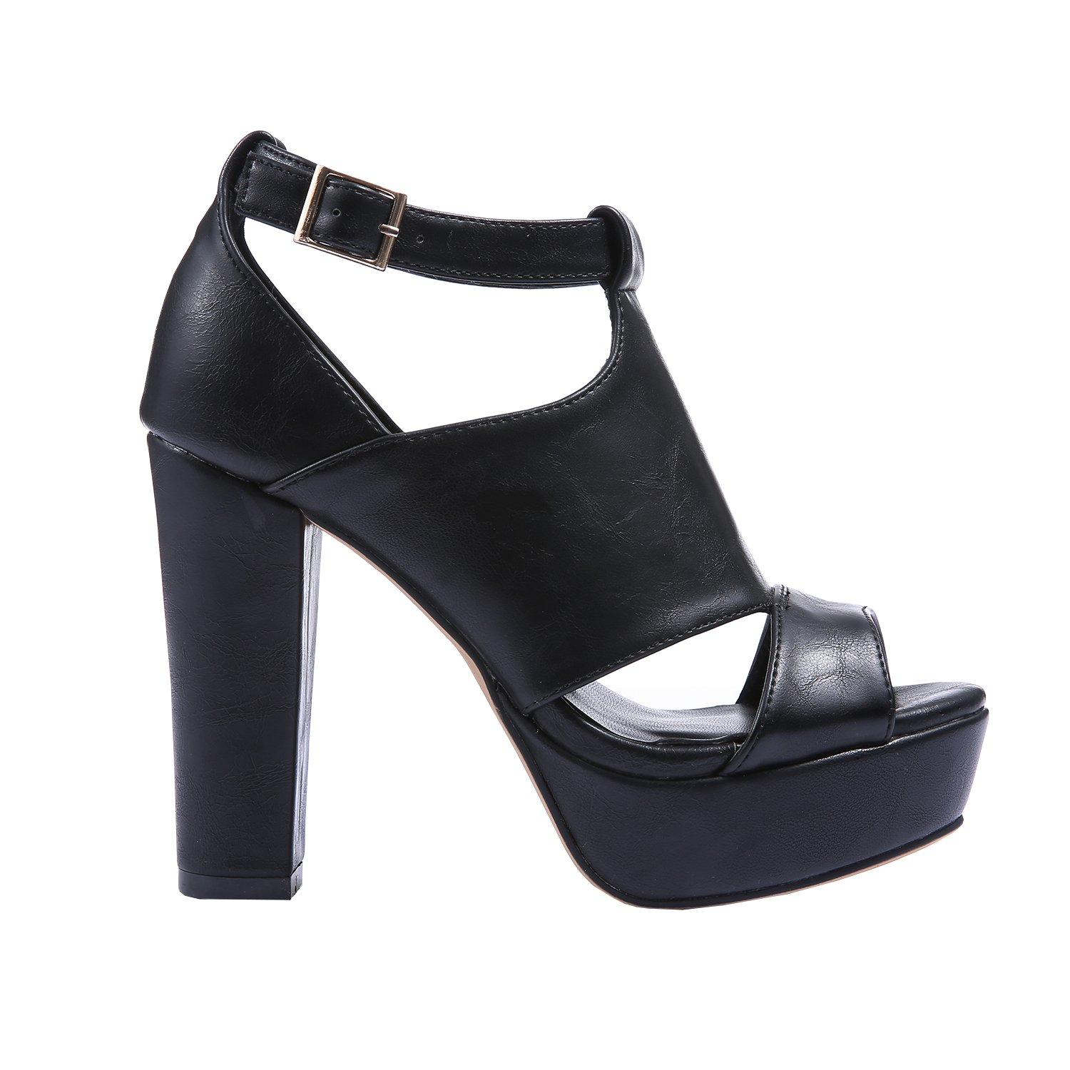 4efaaa1305 Amazon.com | Fashare Womens Peep Toe Platform Sandals Chunky Heel Buckle  Strap Pumps Shoes Sexy High Heels Black | Heeled Sandals