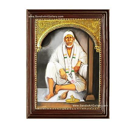 Sandiv Art Gallery Shirdi Sai Baba Tanjore Painting – 22 Carat Gold