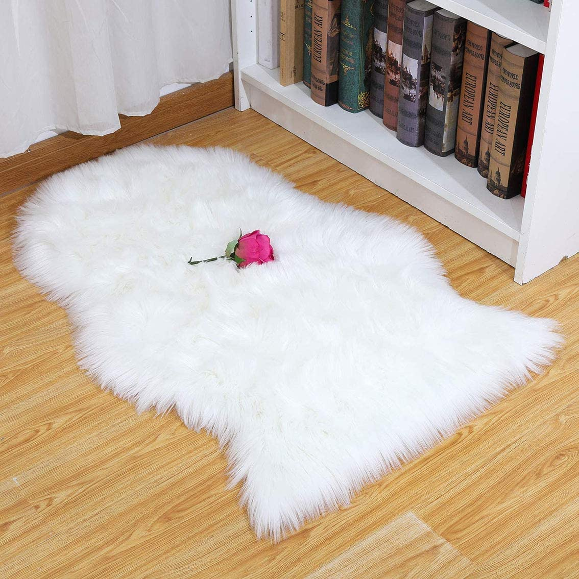 Merit Home Super Soft Fluffy Home Decor Faux Sheepskin Silky Rug for Bedroom Floor Sofa Chair Cover Cushion Seat Pad Shaggy Area Carpet, 2 x 3ft, Ivory White