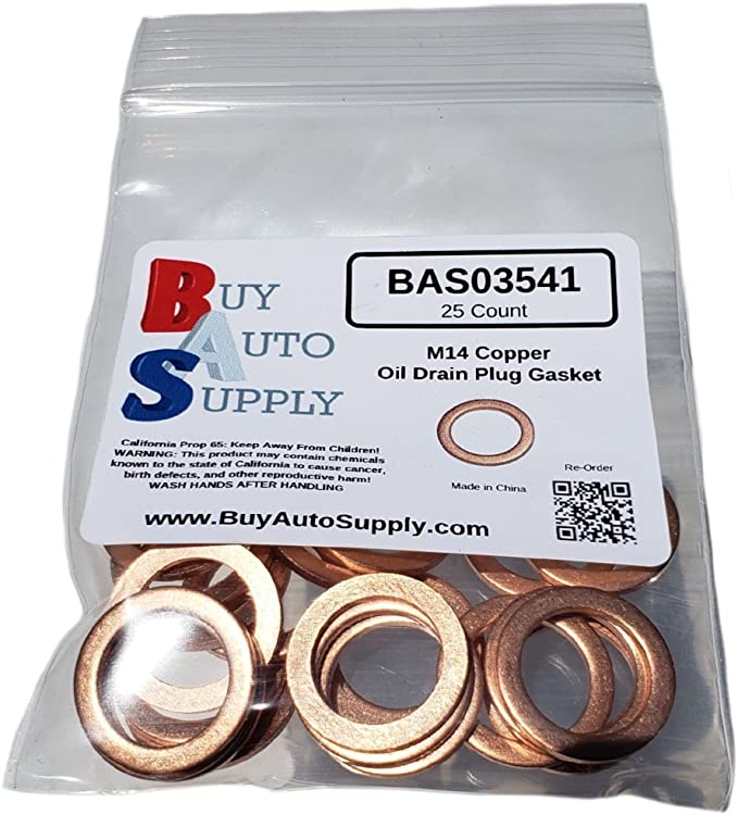 Volkswagen /& More 50 Count Buy Auto Supply # BAS03541 Chrysler M14 Copper Oil Drain Plug Gasket Washer Aftermarket Part Fits in Place of 097-135 I.D: 14.3mm // O.D: 19.8mm GM 94525114