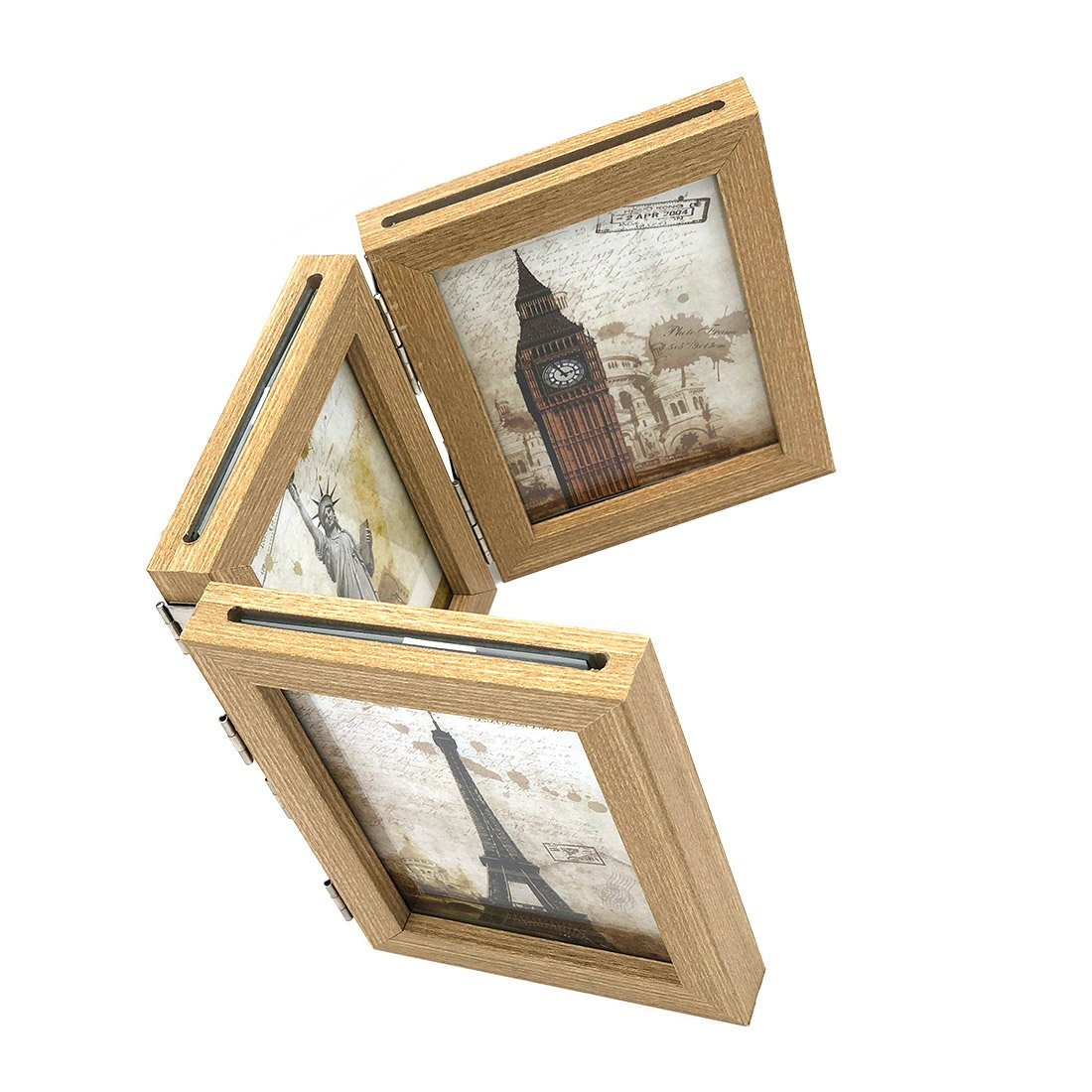 INEYMALL Wooden Photo Frame Folding 3 Stage Photo Frame With Glass 3.5x5 (beige) by INEYMALL (Image #2)