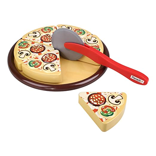 Peradix Pretend Play Cutting Fruit Birthday Cake Fast Food Toy Set (pizza)