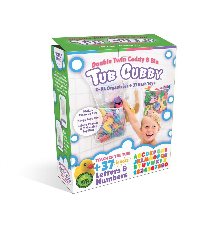 XL Baby Bath Toys Bin with 3 Extra Pockets Tub Cubby Bath Toy Organizer