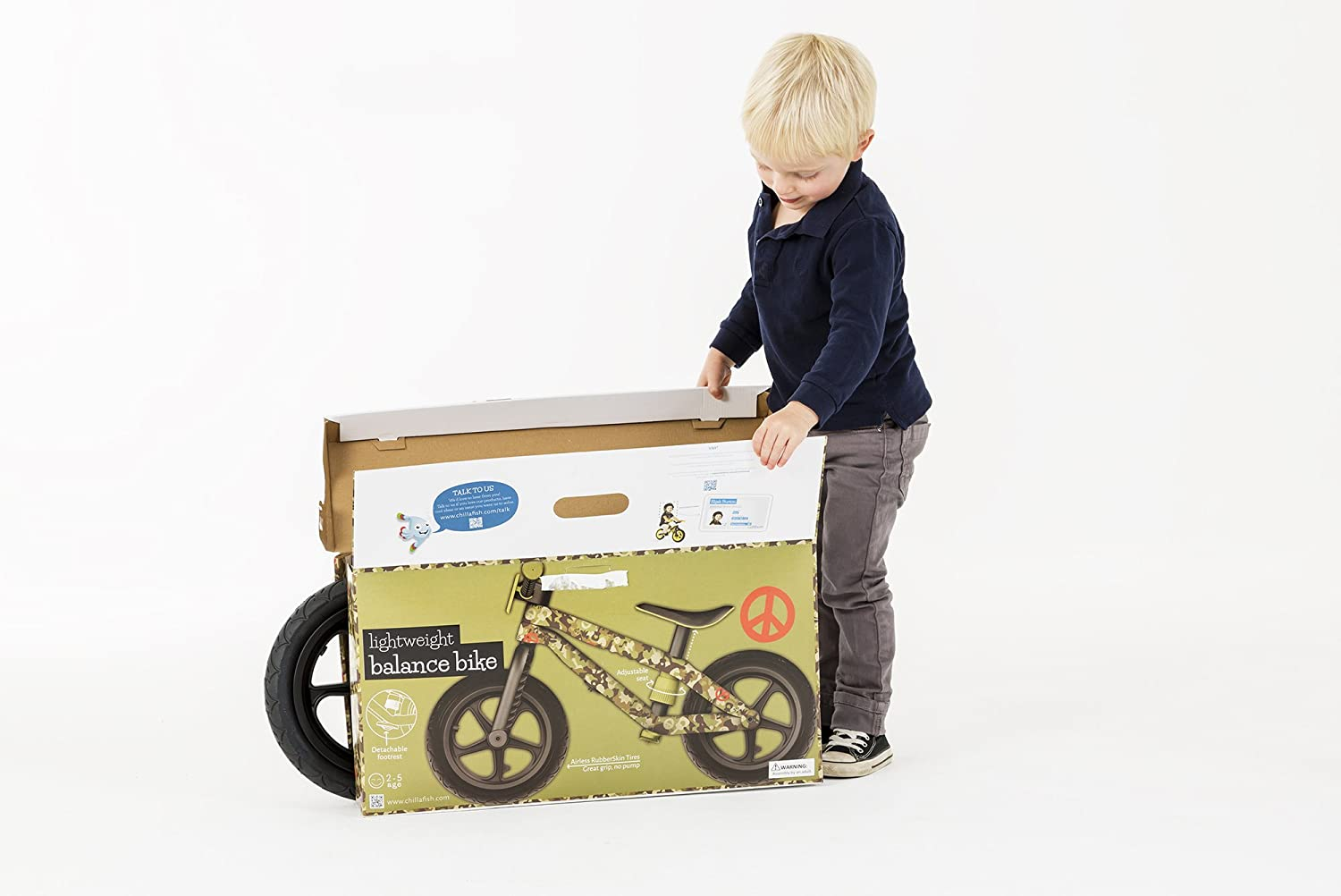Chillafish BMXie-RS: BMX Balance Bike with Airless Rubberskin Tires Motion of The Ocean Blue The Chillafish Company NV CPMX01BLU-RS