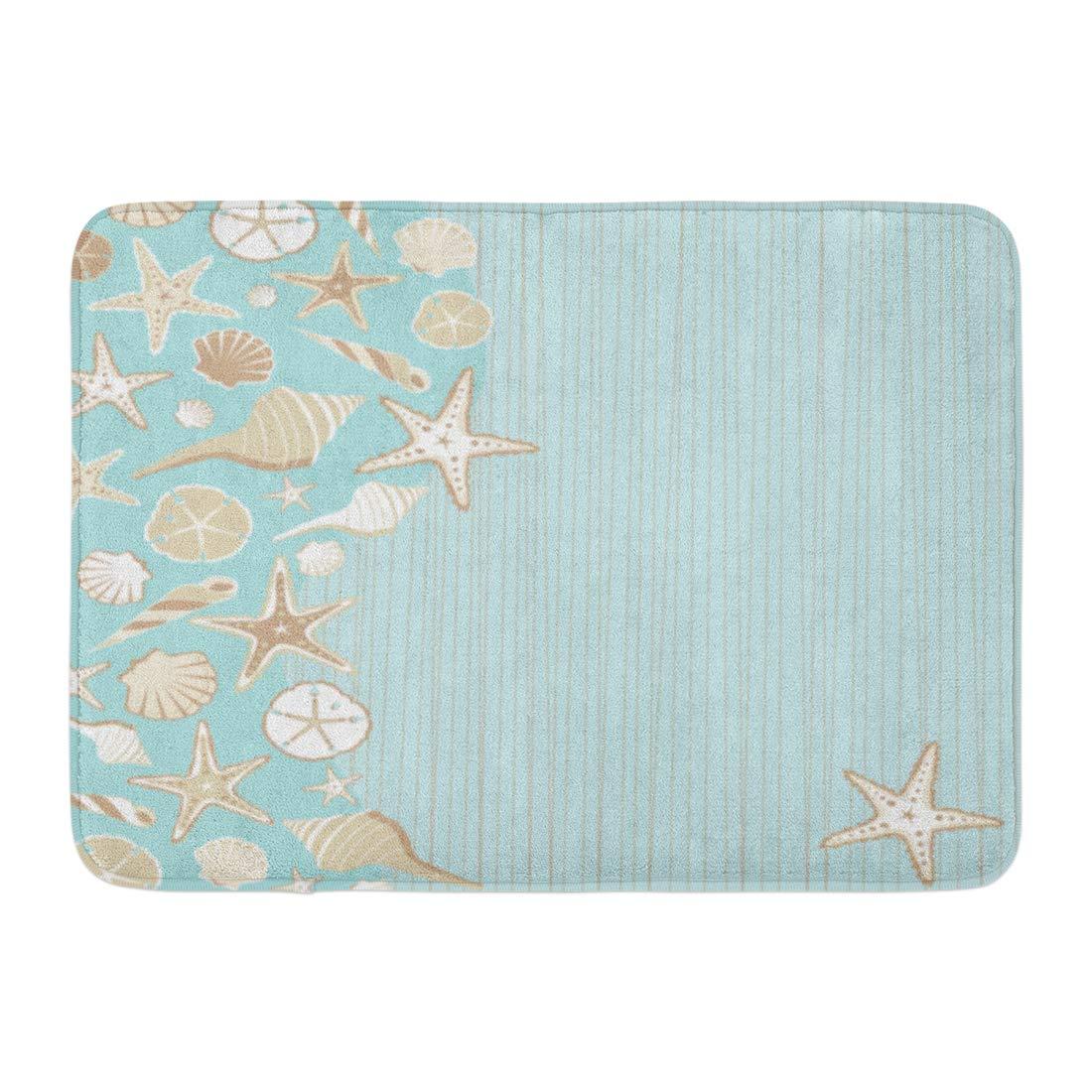 """Emvency Doormats Bath Rugs Outdoor/Indoor Door Mat Seashell Beach Party Variety of Shells on Aqua Teal Stria Wtih Whimsical Tropical Feel and Plenty Room Bathroom Decor Rug 16"""" x 24"""""""