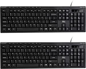 (2-Pack) Rii RK907 Ultra-Slim Compact USB Wired Keyboard for Mac and PC,Windows 10/8 / 7 / Vista/XP (Black)