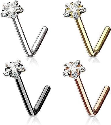 Square Nose Ring Stud L Shape Surgical Steel Gem 1pc 20G 18G