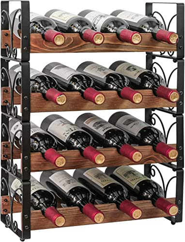 X-cosrack Rustic 16 Bottles Stackable Wine Rack 4 Tier Freestanding Organizer Holder Stand Countertop Liquor Storage Shelf Solid Wood Iron 16.5″ L x 7.0″ W x 22″ H-Patent Pending