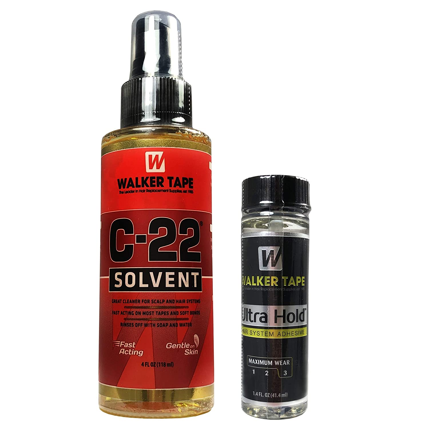 Saver Pack | 4 Ounce C22 Citrus Solvent with 1.4 Ounce Ultra Hold Hair System Adhesive | The Best of Walker Tape | Safe on skin | Long Lasting Hold with Fast Action Adhesive Remover