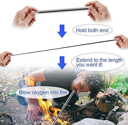 Hihey 2 Piezas Plegable Fuego Blowpipe Blowpipe Herramienta de Fuego para Supervivencia Gadgets Al Aire Libre Camping Grill Tool