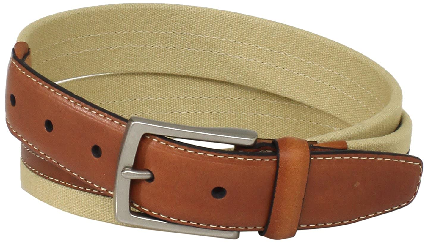 Dockers Mens 1 3//16 in Canvas Belt with Leather Trim