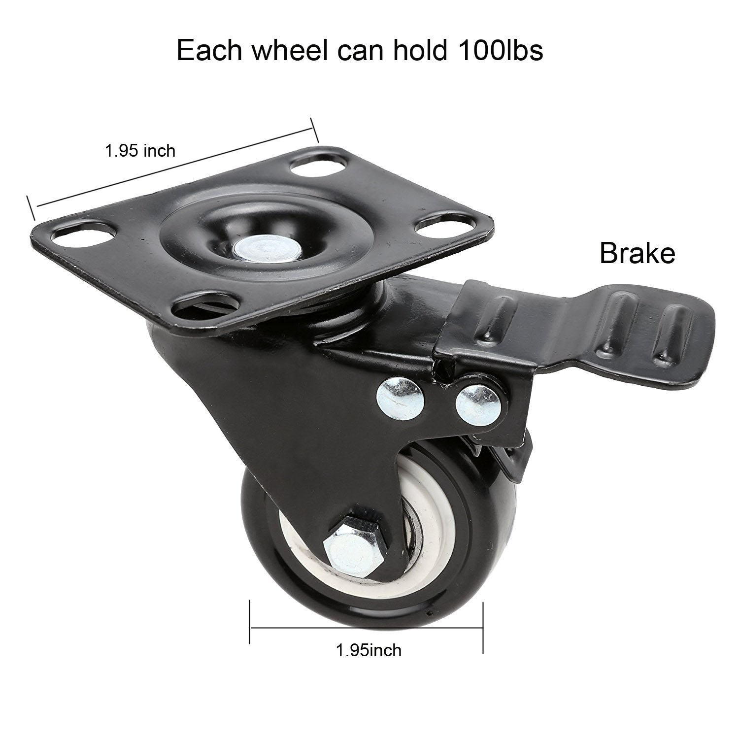 GAGEC 2'' Swivel Caster Wheels Rubber Base with Brake & 20 Screws Bearing Heavy Duty Pack of 4 by GAGEC (Image #3)
